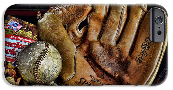 Baseball Glove iPhone Cases - Buy Me Some Peanuts and Cracker Jacks iPhone Case by Ken Smith