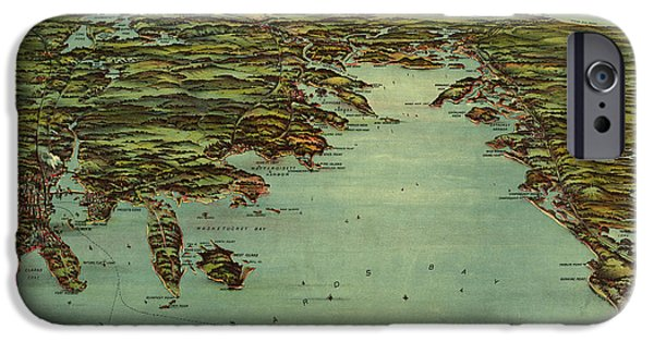 Map Of Boston iPhone Cases - Buzzards Bay 1907 iPhone Case by Andrew Fare