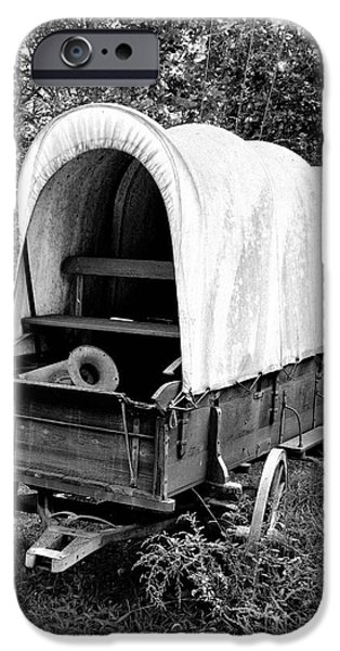 Antiques iPhone Cases - BW Covered Wagon iPhone Case by Timothy Hacker