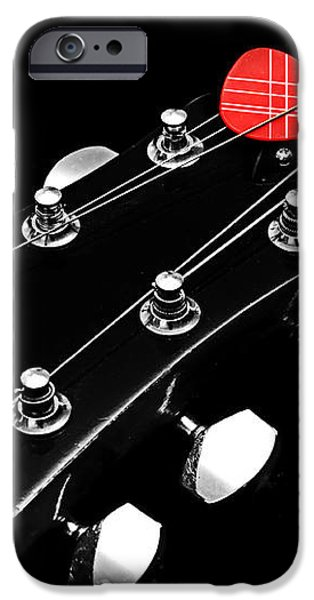 BW Head Stock With Red Pick  iPhone Case by Andee Design