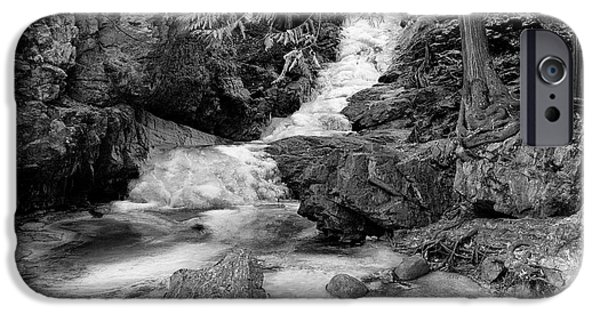 Pines iPhone Cases - BX Falls and Pool Monotone iPhone Case by Allan Van Gasbeck