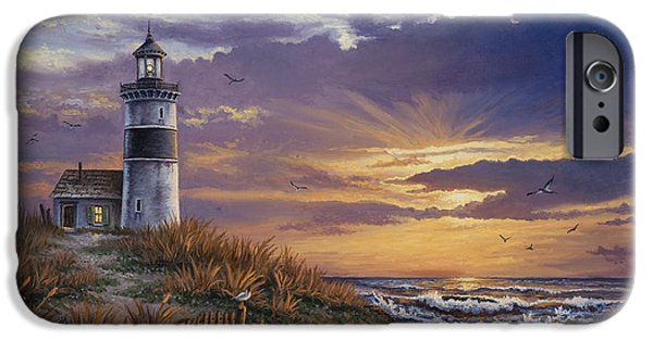 Lighthouse Paintings iPhone Cases - By The Bay iPhone Case by Kyle Wood