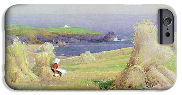 Agricultural iPhone Cases - By the Corn Stocks iPhone Case by Arthur Claude Strachan
