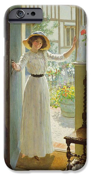 Opening iPhone Cases - By the Cottage Door iPhone Case by William Henry Margetson