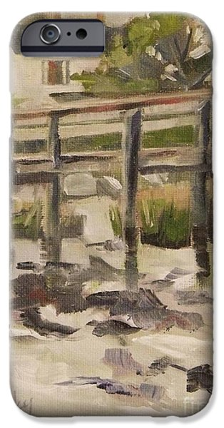 Beach iPhone Cases - By the Dock iPhone Case by Mary Hubley