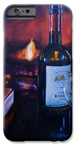 Red Wine iPhone Cases - By the Fire iPhone Case by Donna Tuten