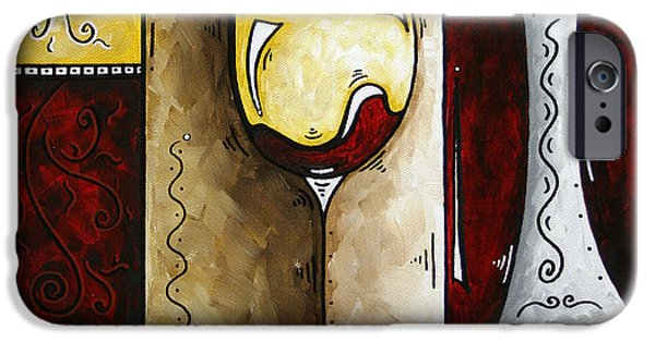 Red Wine Prints iPhone Cases - BY THE FIRESIDE Original MADART Painting iPhone Case by Megan Duncanson