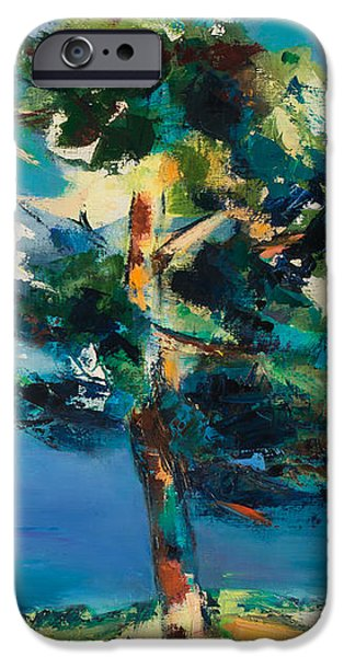 Park Scene iPhone Cases - By the Lake iPhone Case by Elise Palmigiani