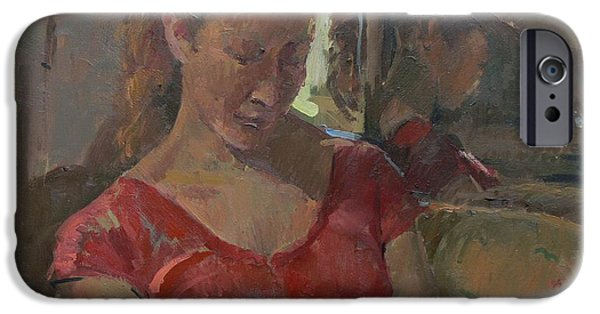 Sombre iPhone Cases - By The Old Mirror, 2009 Oil On Canvas iPhone Case by Pat Maclaurin