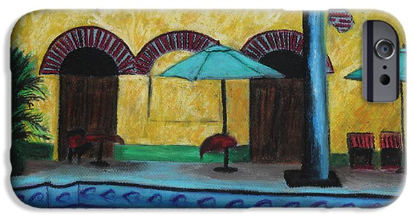 Umbrella Pastels iPhone Cases - By the Poolside iPhone Case by Jeanne Fischer