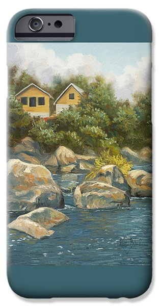 Quebec Paintings iPhone Cases - By The River iPhone Case by Lucie Bilodeau