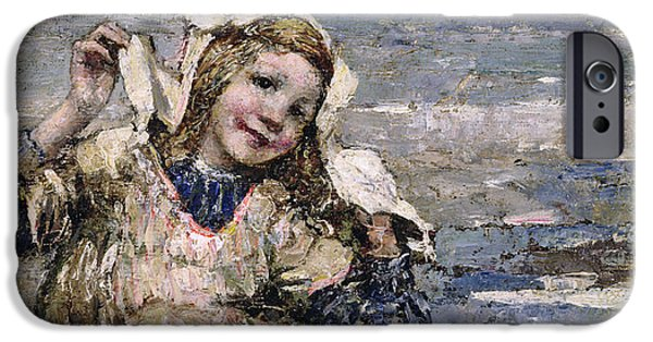 Little Girl iPhone Cases - By the Seaside iPhone Case by Edward Atkinson Hornel