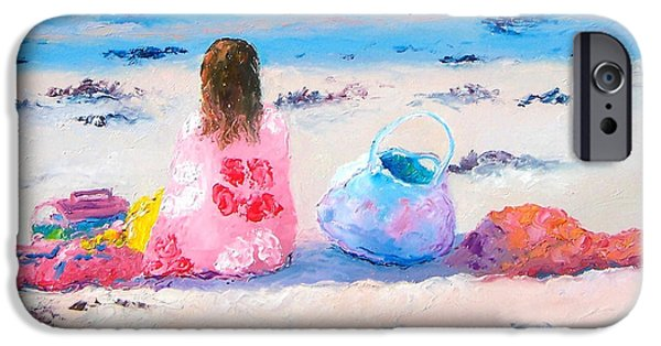 Beach Towel iPhone Cases - By the seaside iPhone Case by Jan Matson