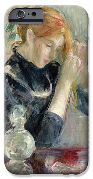Berthe Paintings iPhone Cases - By the Toilette iPhone Case by Berthe Morisot