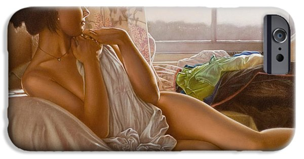 Figure iPhone Cases - By the window iPhone Case by John Silver