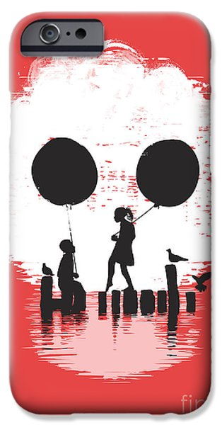Child Digital iPhone Cases - Bye Bye Apocalypse red iPhone Case by Budi Kwan