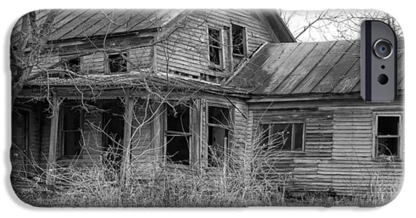 Haunted House iPhone Cases - Bygone Memories - Old Abandoned House iPhone Case by Ron Grafe
