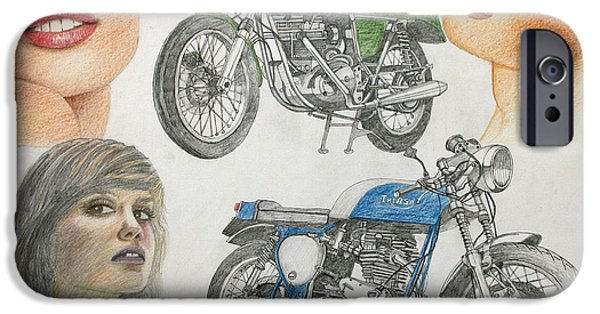 Suspension Drawings iPhone Cases - Bykes and Byrds 1 iPhone Case by Stephen Brooks