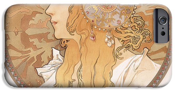 Byzantine iPhone Cases - Byzantine head of a blond maiden iPhone Case by Alphonse Marie Mucha