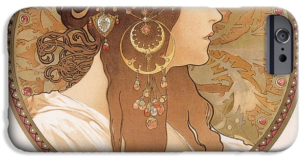 Patterned Drawings iPhone Cases - Byzantine head of a brunette iPhone Case by Alphonse Marie Mucha