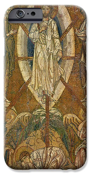 Mosaic iPhone Cases - Byzantine icon depicting the transfiguration iPhone Case by Byzantine School