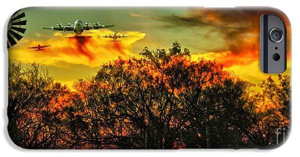 Wildfire iPhone Cases - Wildfire C-130  iPhone Case by Robert Frederick