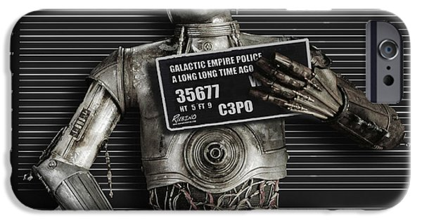 Arrest iPhone Cases - C-3PO Mug Shot iPhone Case by Tony Rubino