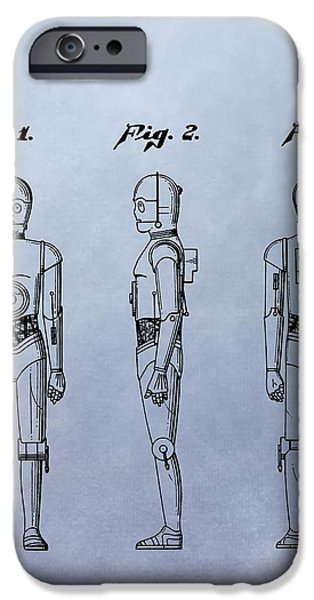 Science Fiction Drawings iPhone Cases - C-3PO Patent iPhone Case by Dan Sproul