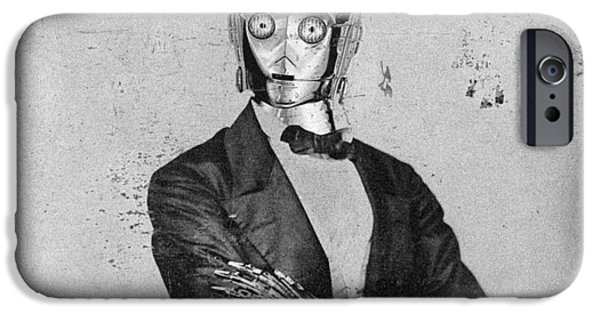Lincoln Mixed Media iPhone Cases - C-3PO Star Wars Antique Photo iPhone Case by Tony Rubino