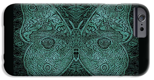 Earth Tones Drawings iPhone Cases - C Moth L3 Wd Midnight Green iPhone Case by Dale Crum