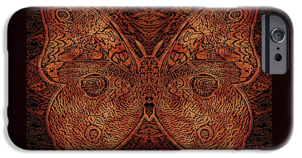 Earth Tones Drawings iPhone Cases - C Moth L3 Wd Red iPhone Case by Dale Crum
