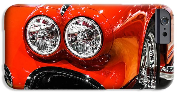 Old Photos iPhone Cases - C1 Red Chevrolet Corvette Picture iPhone Case by Paul Velgos