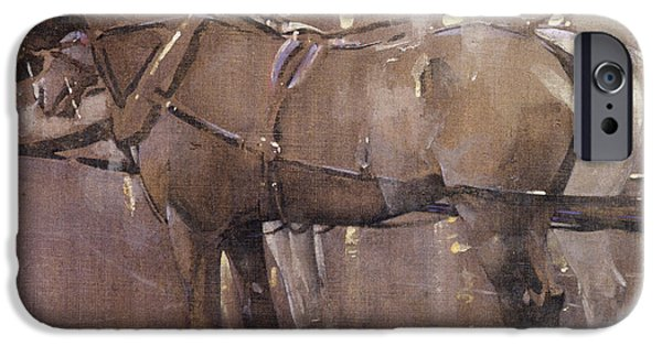Gas Paintings iPhone Cases - Cab Horses by Gaslight  iPhone Case by Joseph Crawhall