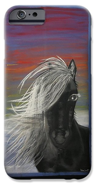 Horse Racing Pastels iPhone Cases - Caballo negro iPhone Case by Hebana Luna