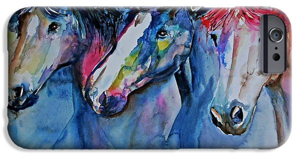 Horse Racing Drawings iPhone Cases - Caballos iPhone Case by Isabel Salvador