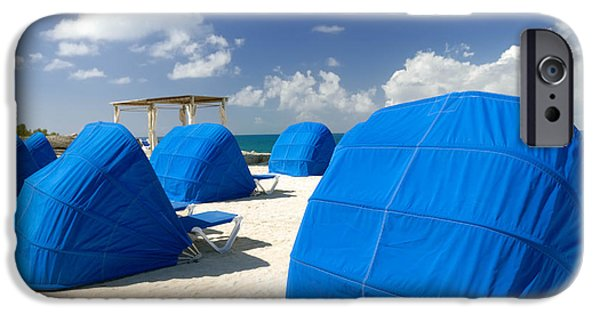 Private Island iPhone Cases - Cabanas on the Beach iPhone Case by Amy Cicconi