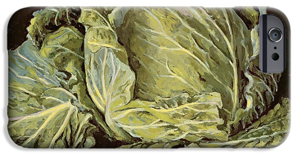 Still Life iPhone Cases - Cabbage Still Life iPhone Case by Vincent Yorke
