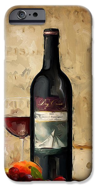Wine Glasses Paintings iPhone Cases - Cabernet IV iPhone Case by Lourry Legarde