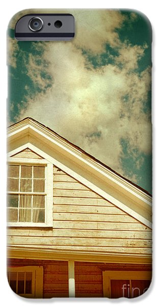 Cabin Window iPhone Cases - Cabin and Clouds iPhone Case by Jill Battaglia