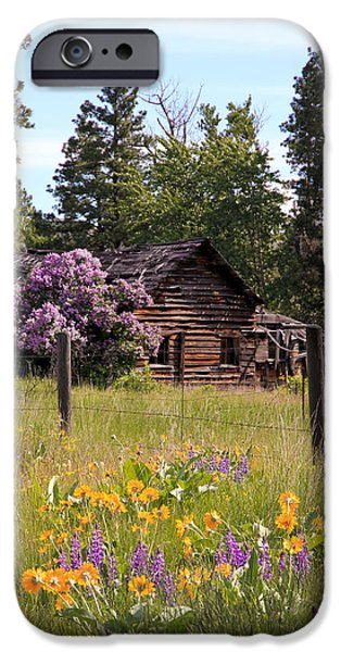 Pen And Ink Photographs iPhone Cases - Cabin and Wildflowers iPhone Case by Athena Mckinzie