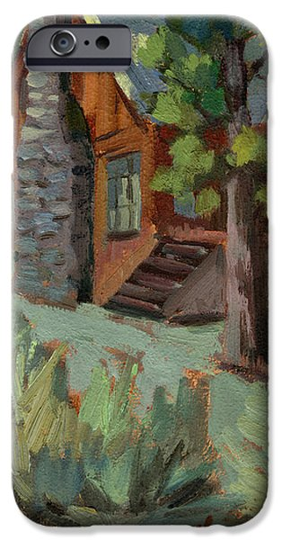 Mountain Cabin iPhone Cases - Cabin at Big Bear Lake iPhone Case by Diane McClary
