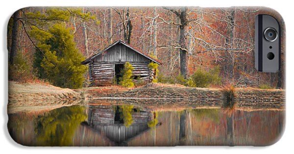 Sunset At The Lake iPhone Cases - Cabin by the Lake in Autumn iPhone Case by Shelby  Young