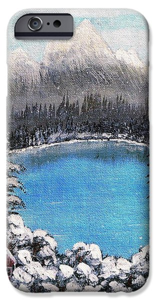 Mounds Paintings iPhone Cases - Cabin by the Lake - Winter iPhone Case by Barbara Griffin
