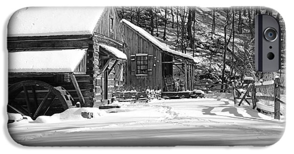 Snow Scene iPhone Cases - Cabin Fever in Black and White iPhone Case by Paul Ward