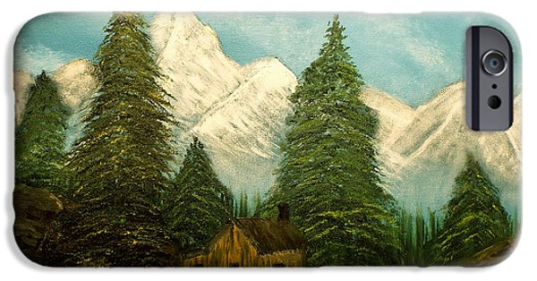 Bob Ross Paintings iPhone Cases - Cabin Getaway iPhone Case by Joyce Krenson