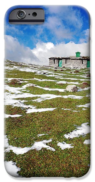 Mountain Cabin iPhone Cases - Cabin In Mountain With Some Snow iPhone Case by Mikel Martinez de Osaba