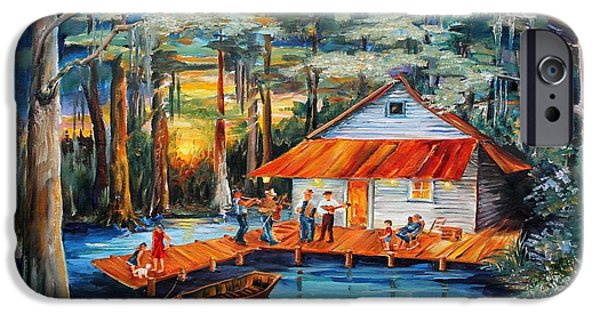 Canoe iPhone Cases - Cabin in the Swamp iPhone Case by Diane Millsap