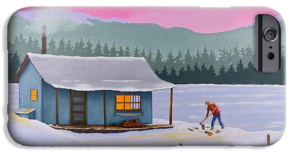 Frozen Lake iPhone Cases - Cabin on a frozen lake iPhone Case by Gary Giacomelli