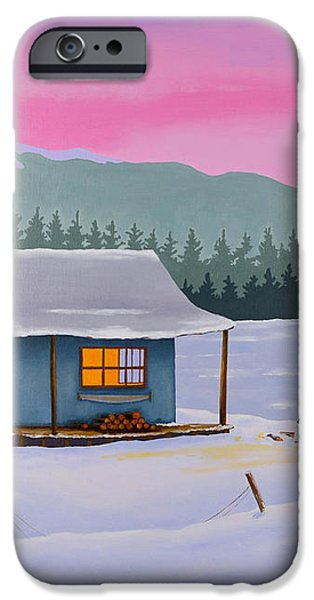 Cabin on a frozen lake iPhone Case by Gary Giacomelli