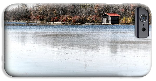 Cabin iPhone Cases - Cabin on a Lake iPhone Case by Olivier Le Queinec